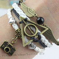 ancient bronze snitch and harry potter bracelet, heart and old camera bracelet, wax rope personalized jewelry, bracelets, graduation