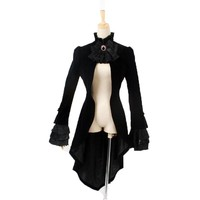 Gothic Asymmetric Tail Coat For Females Punk Palace Retro Single Button Women's Jacket Winter Coat With Lace Tie Dovetail Jacket