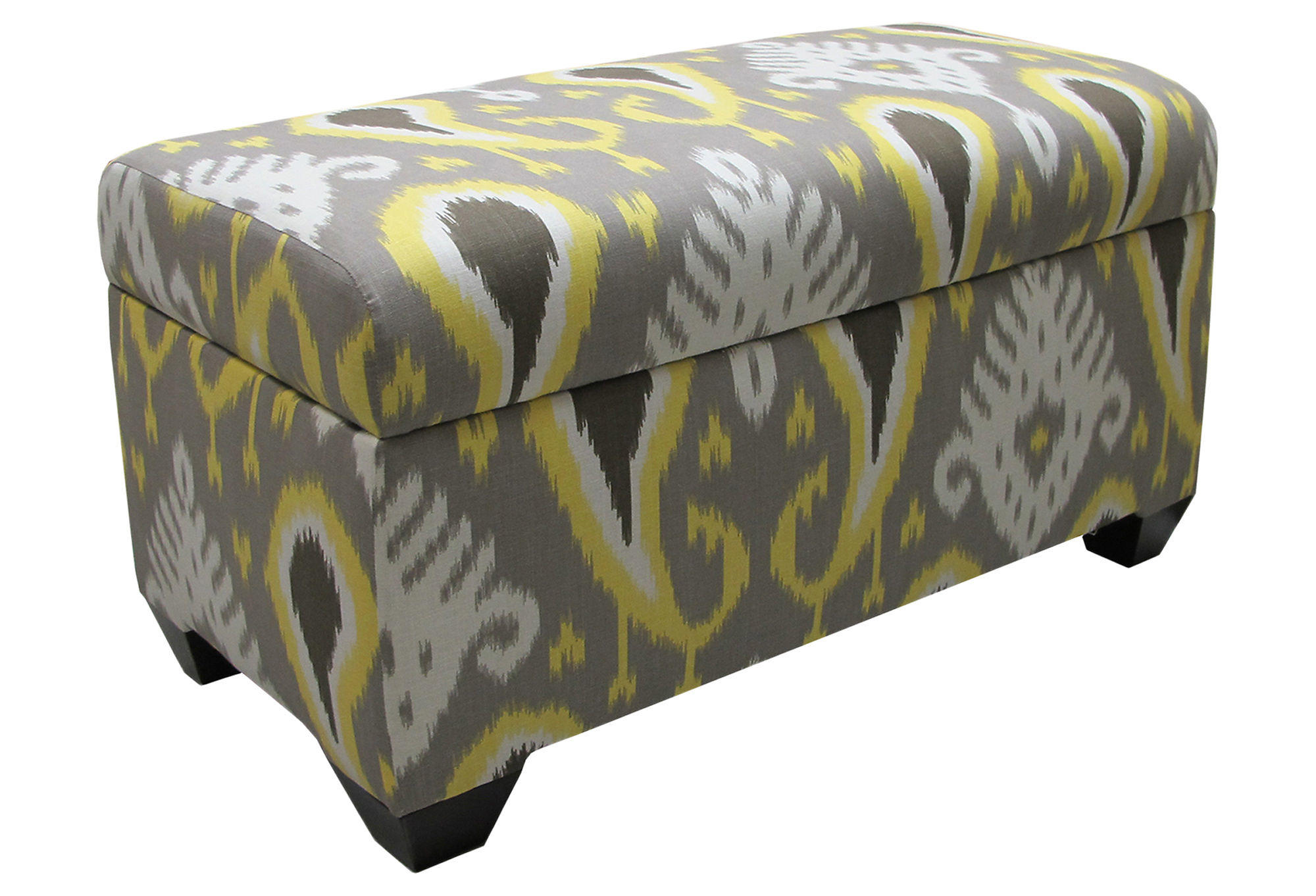 Arthur Storage Ottoman Gray Yellow Ikat From One Kings Lane
