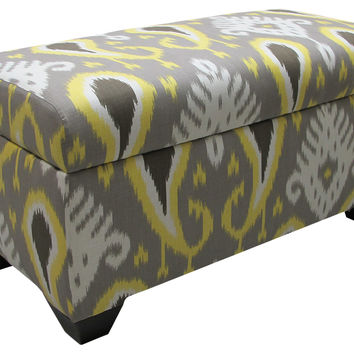 Arthur Storage Ottoman, Gray/Yellow Ikat, Bench, Entryway Bench