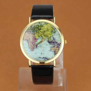 Good Price Stylish Designer's Gift New Arrival Awesome Great Deal Trendy Korean Strong Character World Map Hot Sale Alloy Watch [8863718215]
