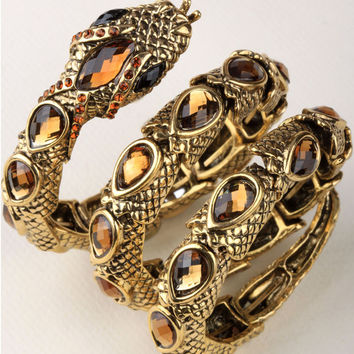 Stretch snake bracelet armlet upper arm cuff  for women punk rock crystal bangle jewelry antique gold & silver dropshipping A32