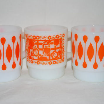 Milk Glass Coffee Cups Orange and Vintage , Set of 3 Milk Glass Mugs Retro Style