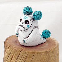 Clay Monster Figurine, White and Teal Ceramic Monster Figurine