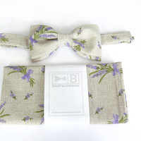 Wedding set for men - bow tie and pocket handkerchief by BartekDesign - beige lavender chic grooms