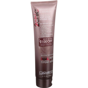 Giovanni Hair Care Products Styling Gel - 2chic - Ultra Sleek - Brazilian Keratin and Argan Oil - Soft Hold - 5.1 oz