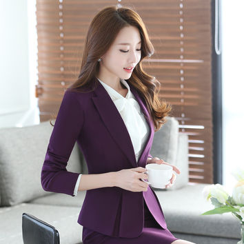 Spring Suit Full Sleeved Occupation Overalls Slim Business Interview Ladies Designer Skirt Suits Business Skirt Suits For Women