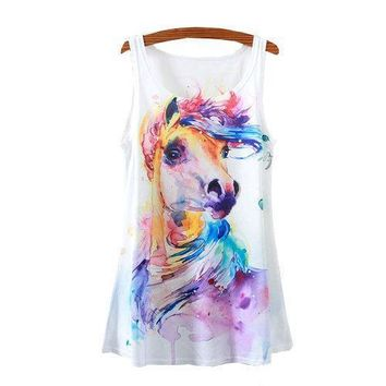 Horse Watercolor Paint Tank Tops - Women's Sleeveless Shirts
