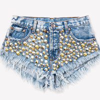 Toxic Studded Babe Frayed Shorts