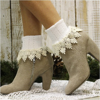 DAISY lace cuff socks - white/ivory