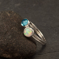Stacking Rings- Silver Stacking Ring Set- Stacked Rings- Stone Rings- Blue Topaz Ring, Opal Ring- sizes 6, 8