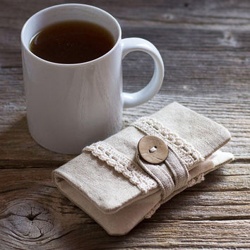 Linen and Cotton Tea Wallet with Hand Crocheted Lace in Natural Colors, Tea Holder, Shabby Chic Accessories, Gift for Tea Lover