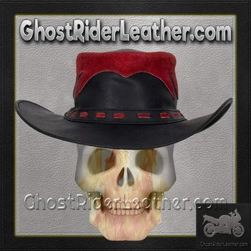 Black and Red Leather Gambler Hat / SKU GRL-HAT10-11-DL