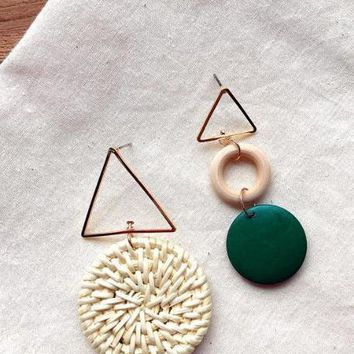 Rattan Vine Straw Weave Miss Match Green Triangle Earrings