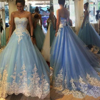 elegant light blue Wedding Dresses 2017 sweetheart appliques lace tulle wedding guest gown women marry gown