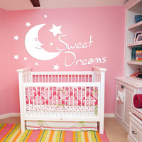 Sweet Dreams Nursery Wall Decal, Sweet Dreams Stars Bedroom Sticker, Sweet Dream Nursery Room Wall Decor Art, Sweet Dreams Quote Mural se148