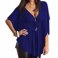 Sexy Casual Loose V-neck Batwing Sleeve Tops