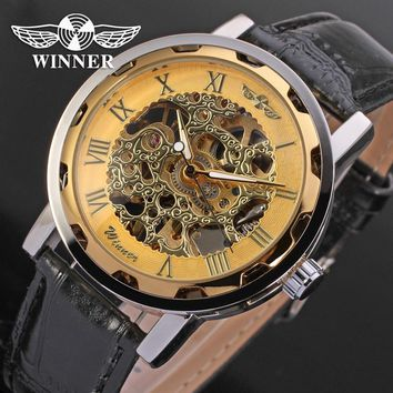 Steampunk Men's Watch Mechanical Luxury Brand Skeleton Watches Transparent Male Watch Blue Gold Colorful Watches Casual Clock