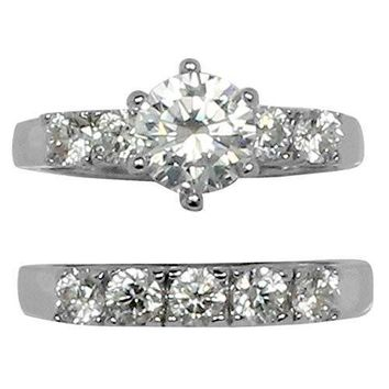 Round 6 Prong Set CZ Wedding Ring Style Set with Small CZ Accent Stones in Stainless Steel