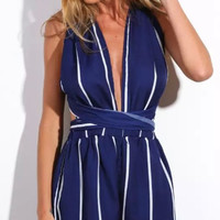 Beauteous Navy Striped Backless Rompers