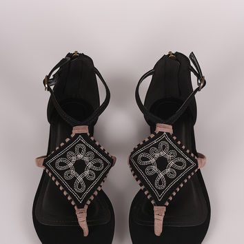 Bamboo Nubuck Embroidery And Whipstitch Thong Flat Sandal