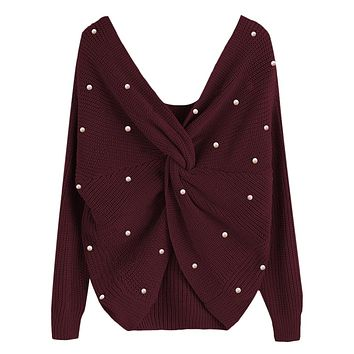 Wipalo Pearl Beading V Neck Twist Sweater Sweet Burgundy Women Pullovers Knit Jumper Long Sleeve Casual Solid Sweater pull femme