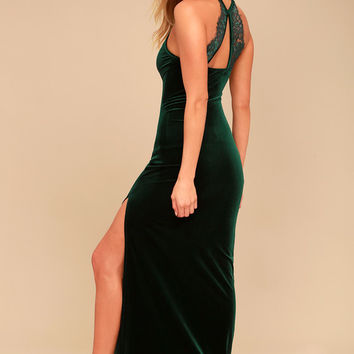 Crazy Over You Forest Green Velvet Maxi Dress