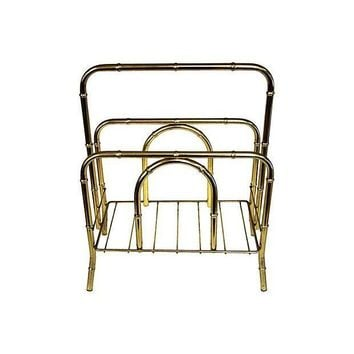 Pre-owned Brass Faux Bamboo Magazine Rack