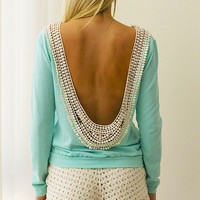 My Crocheted Backless Top - Mint