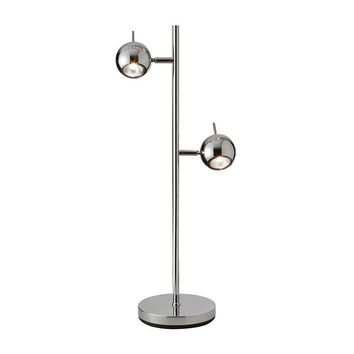 Two-Tiered Chrome Table Lamp