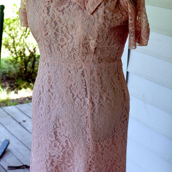 Vintage1950s Party Dress/1950s Cotton Candy Wiggle Dress Made in the USA Size L