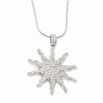 Sterling Silver & CZ Sun Pendant Necklace