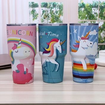 Drop Shipping Thermoses 30oz Unicorn Mug Stainless Steel Vacuum Flask Travel Coffee Cup Car Insulated Tumbler Water Bottles