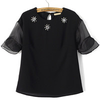 Black Ruffled Sheer Mesh Sleeve Blouse with Floral Beads Accent