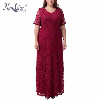 Nemidor Hot Sales Women Elegant Party Plus Size 7XL 8XL 9XL Lace Dress Vintage Short Sleeve Midi Summer Casual Long Maxi Dress