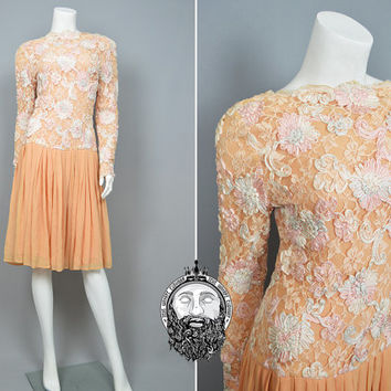 Vintage 70s LANVIN Paris Pure Silk Embroidered Chantilly Lace Couture Dress Peach Drop Waist Full Gathered Skirt Light Orange 1970s Designer
