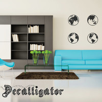 Wall Decal - Four Globes - Solid or Outline Style - Modern Vinyl Mural for Home Decor