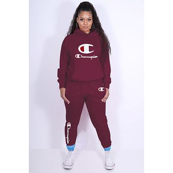 Champion Popular Women Leisure Long Sleeve Sweater Pants Set Two-Piece Burgundy