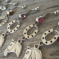 Choose One Horse Belly Ring, Horseshoe Belly Button Ring, Country Western Belly Piercing, Lucky Horse, Barrel Racing, Cowgirl Up Navel Ring
