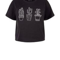 Black Cactus Trio Crop Top