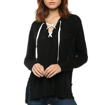 Brooklyn Karma Lace Up Distressed Hoodie