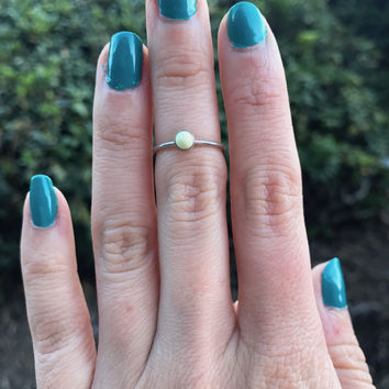 Chrysoprase Stacking Ring - Ready to Ship - Size 4