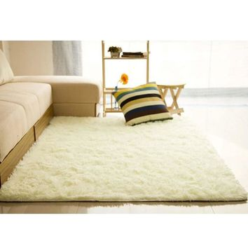 Fluffy Rugs Anti-Skiding Shaggy Area Rug Dining Room Carpet Floor Mats White shaggy rugs shag rugs