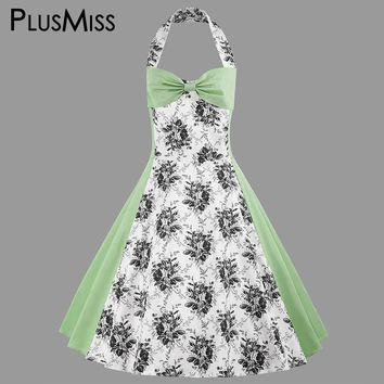 Plus Size 4XL Vintage Retro Halter Floral Print Dress Summer 2017 Green Sexy Sleeveless Swing Midi Dress Women Robe Femme