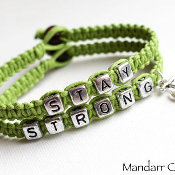 Stay Strong Bracelet Set, Anchor Charm, Lime Green Hemp Jewelry, Recovery Gift for Her, It Gets Better