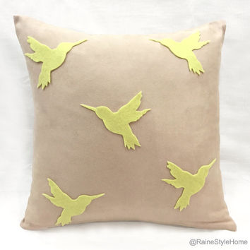 Pale Yellow Humming Birds Flock Beige Pillow Cover. Hand Cut Modern Birds 16inch Cushion Cover Pillow Case. Color Choice