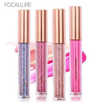 ICIKL3Z FOCALLURE Matte Lipstick Metallic Liquid Lipstick Glitter Tint Lip Makeup Waterproof Nude Make up Lip Gloss Stick Cosmetic