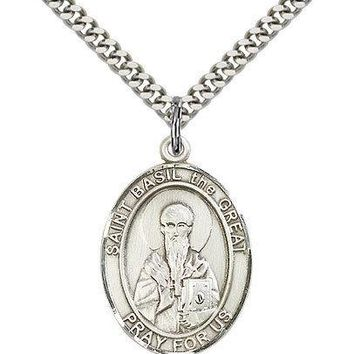 """Saint Basil The Great Medal For Men - .925 Sterling Silver Necklace On 24"""" Ch... 617759298338"""