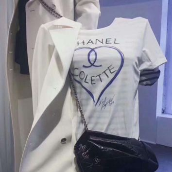 """Chanel"" Women Casual Fashion Graffiti Letter Love Heart-shaped Pattern Print Short Sleeve T-shirt Shirt Top Tee G"