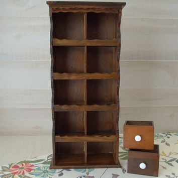 Tall Wooden Spice Rack, Rustic Wood Hanging Storage Shelf, Vintage Wood Display Rack
